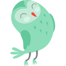 green owl facing right